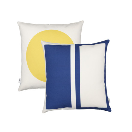 Vitra - Graphic Print Pillow - Rectangles / Circle 40 x 40 cm, blue / mustard