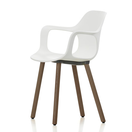 Hal Wood Armchair by Vitra in white made of walnut with felt glides (white)