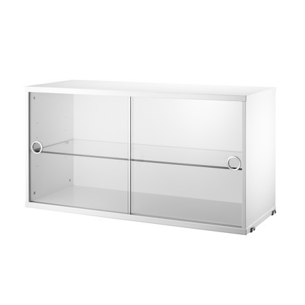 String - Showcase with sliding doors out of glass, white - single image