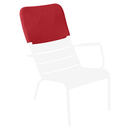 Luxembourg Armchair in Cotton White with Headrest in Poppy Red by Fermob
