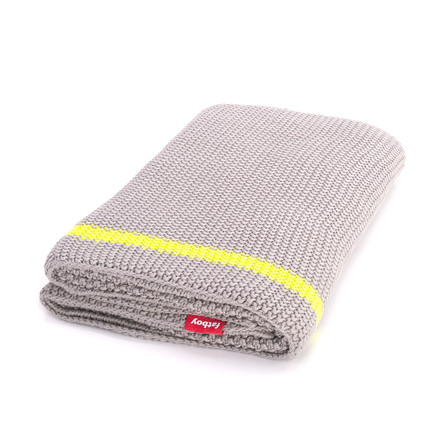 Fatboy - Klaid blanket, light grey / neon yellow stripe