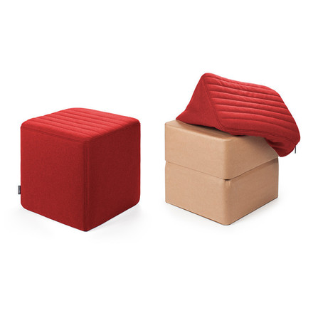 Objekten - Cover Stool H 34 cm red, with and without cover