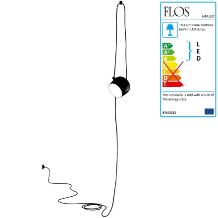 Flos - AIM Small LED Pedant Lamp Cable + Plug, black