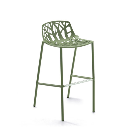 Fast - Forest bar stool high with low backrest, khaki