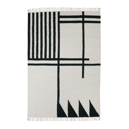 ferm living - Kelim Rug, black lines, large