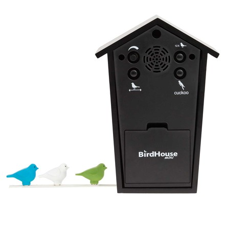 KooKoo - Bird House Mini black, back side and colourful birds