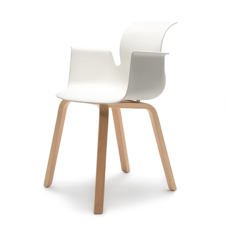Flötotto - Pro 6 Armchair Four-legged wooden frame, beech natural / snow-white, felt glides