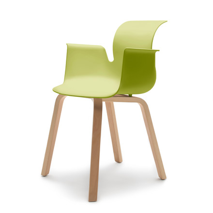Flötotto - Pro 6 Armchair Four-legged wooden frame, beech natural / green, felt glides