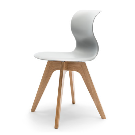Flötotto - Pro 6 Chair, four-star wooden frame oak nature / grey, felt glides