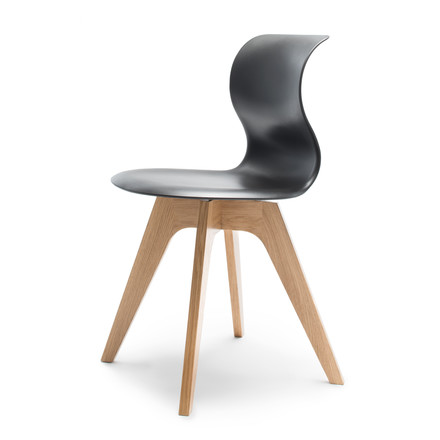 Flötotto - Pro 6 Chair, four-star wooden frame oak nature / graphite, felt glides