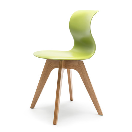 Flötotto - Pro 6 Chair, four-star wooden frame oak nature / green, felt glides