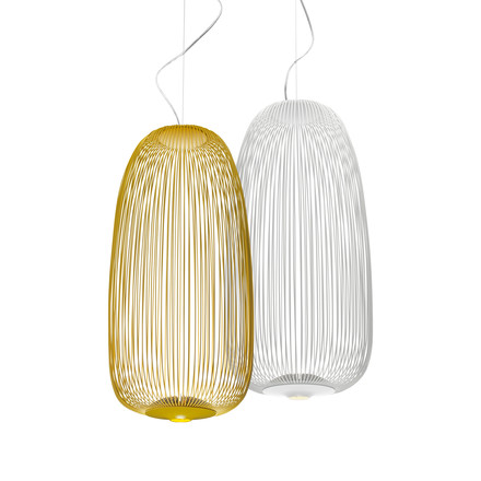 Foscarini - Spokes LED-Pendant Luminaire 1 in white and golden yellow
