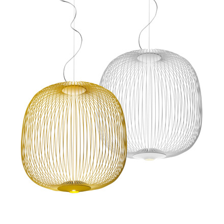 Foscarini - Spokes LED pendant lamp 2 in white and gold yellow