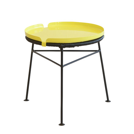 OK Design - Centro Table, black / Tray, yellow