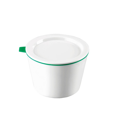 Thomas - Porcelain Food Container, 500 ml, green silicone ring