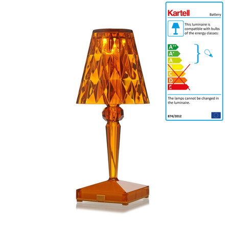 Kartell - battery night table lamp in amber