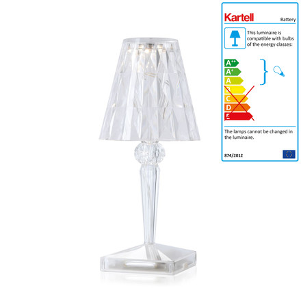 Kartell - battery night table lamp in crystal clear