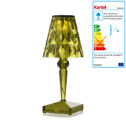 Kartell - battery night table lamp in green