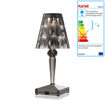 Kartell - battery night table lamp in smoke grey