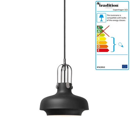 Copenhagen SC6 Pendant Lamp by &Tradition in matte black