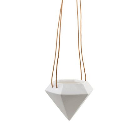 Diamond small - the ceramic plant hanger by Novoform in white