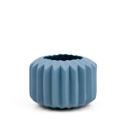 Riffle 1 Ceramic Votive / Vase in blue