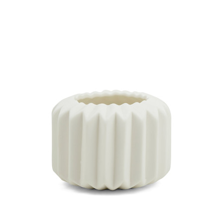 Riffle 1 Ceramic Votive / Vase in pure white