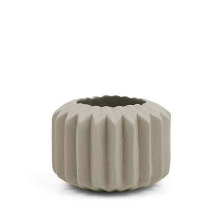 Riffle 1 Ceramic Votive / Vase in grey