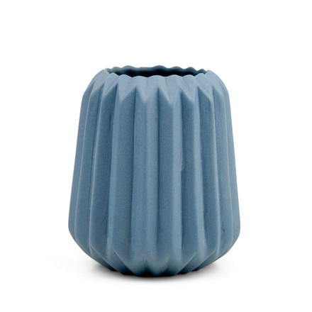 The Riffle 2 Ceramic Tealight Holder and Vase by Novoform in blue