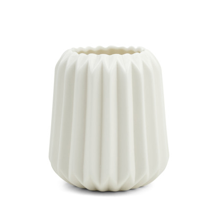 The Riffle 2 Ceramic Tealight Holder and Vase by Novoform in pure white