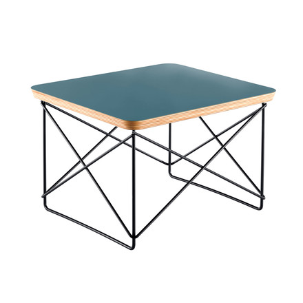Eames Occasional Table LTR by Vitra in ocean and powder coated in basic dark