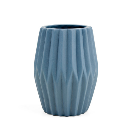 Riffle 3 Ceramic Votive / Vase by Novoform in blue