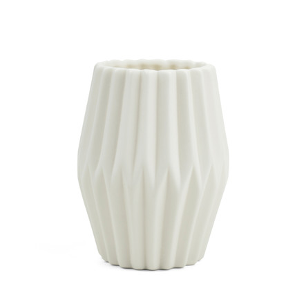 Riffle 3 Ceramic Votive / Vase by Novoform in pure white