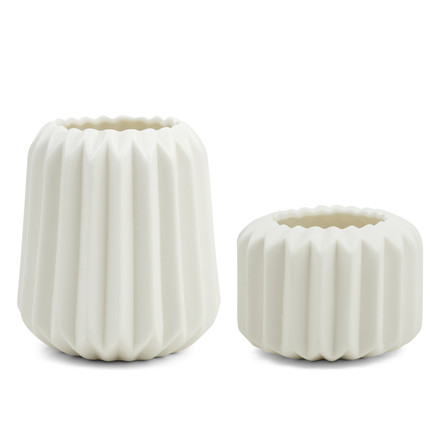 Riffle 1 and 2 ceramic votives / vases by Novoform in pure white