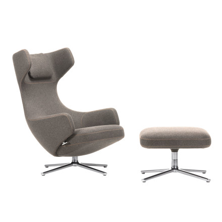 Vitra - Grand Repos Armchiar and Ottoman, Cosy fossil / polished, felt glides