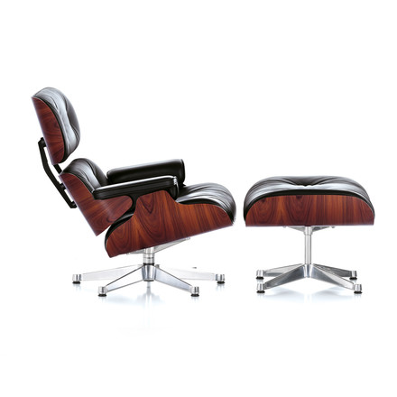 Vitra - Lounge Chair & Ottoman, rosewood, chrome-plated (new size)