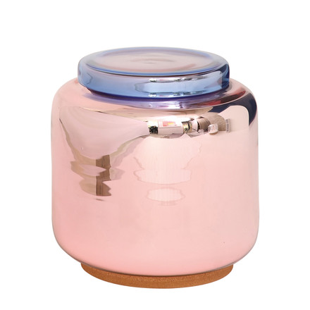 Pulpo - container table, dusky pink silver plated / cover blue