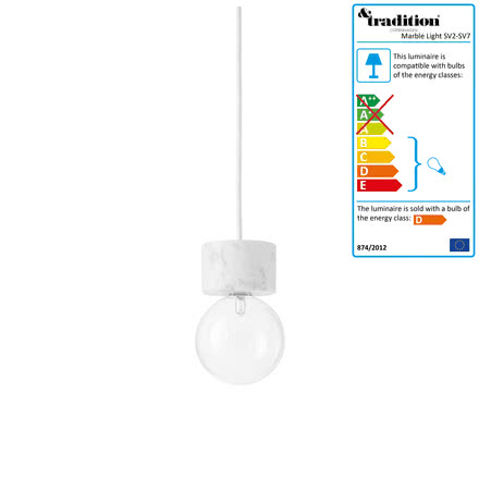 &Tradition - Marble Light Pendant Lamp SV4 in white