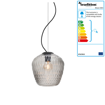 Blown SW3 Pendant Lamp by &Tradition, silver / black cable