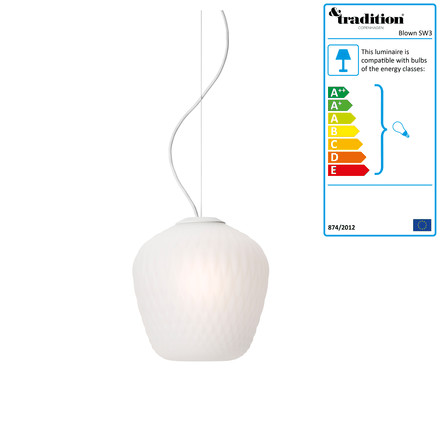Blown SW3 Pendant Lamp by &Tradition, white / white cable