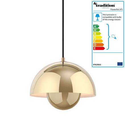 FlowerPot Pendant Lamp VP1 by &Tradition in polished brass