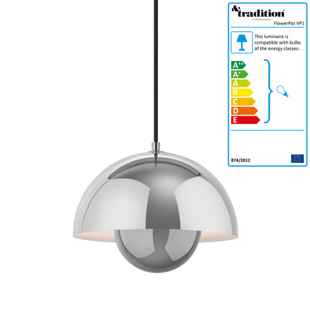 FlowerPot Pendant Lamp VP1 by &Tradition in polished stainless steel