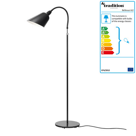 Bellevue Floor Lamp AJ2 by &Tradition in black