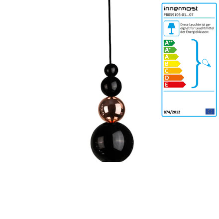 Bubble pendant lamp by Innermost in black and copper