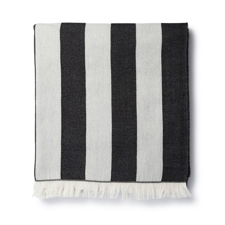 Korsi blanket 130 x 190 cm by Marimekko with stripes in black and white