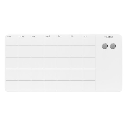 Magnetic glass panel with monthly planner by ThreeByThree