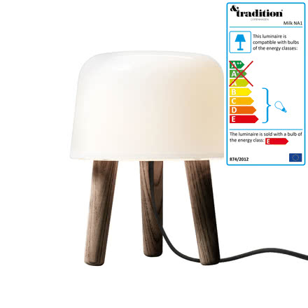 &Tradition - Milk Table Lamp, NA1, smoked ash / black cable