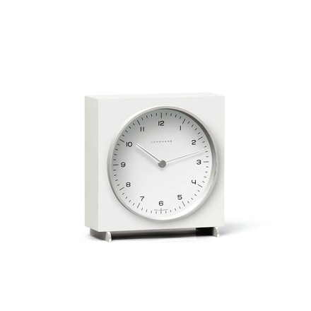 Max Bill Quartz desk clock by Junghans in white