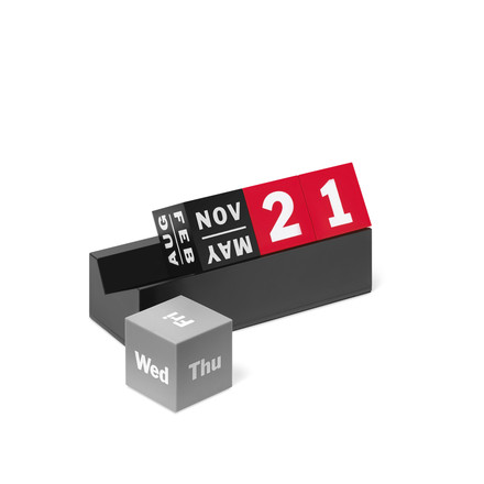 Cubes Perpetual calendar in red, black, and different shades of grey