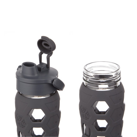 Glass Bottle 0.6 l with Flip Top Cap by Lifefactory in carbon